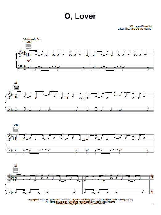 O, Lover Sheet Music