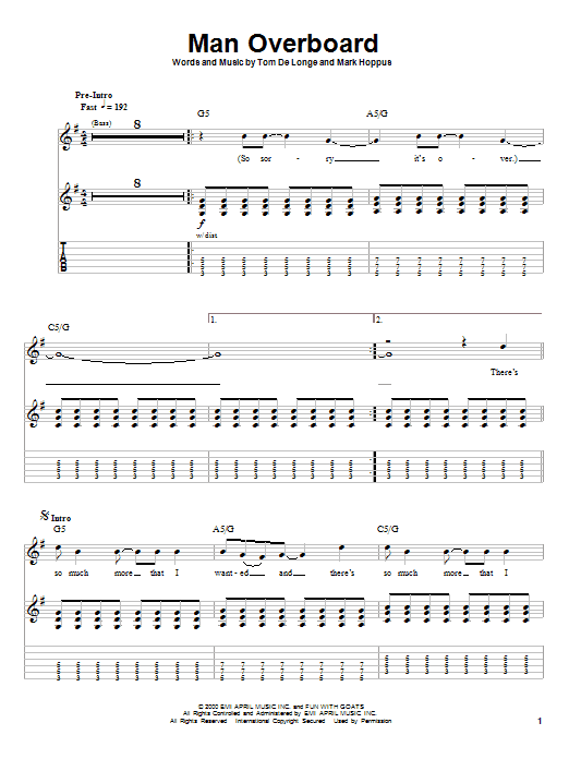 Tablature guitare Man Overboard de Blink-182 - Autre