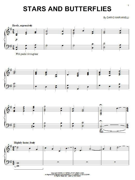Stars And Butterflies Sheet Music