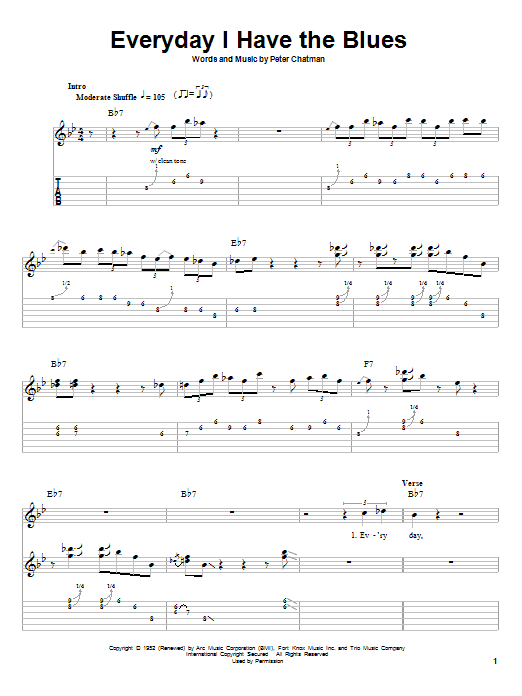 Tablature guitare Everyday I Have The Blues de B.B. King - Playback Guitare