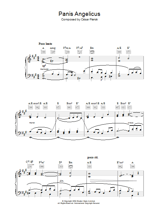 Panis Angelicus (O Lord Most Holy) (Piano, Vocal & Guitar)