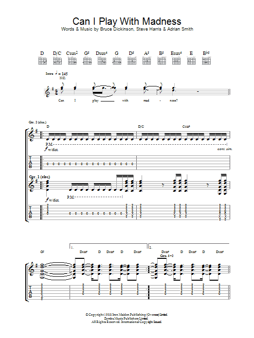 Can I Play With Madness? Sheet Music