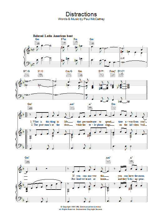 Distractions Sheet Music