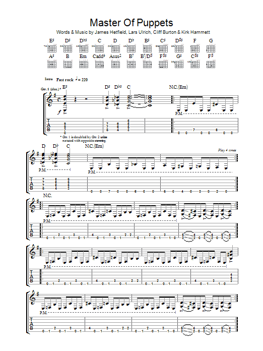 Master Of Puppets by Metallica - Guitar Tab - Guitar ...