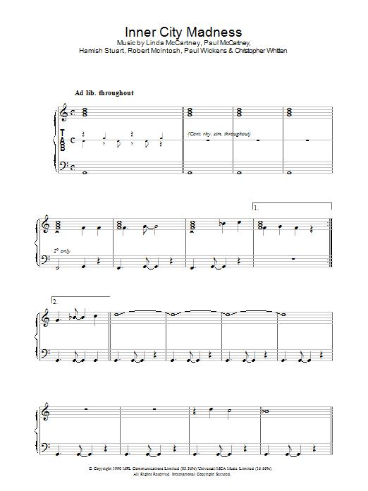 Inner City Madness (Piano, Vocal & Guitar)