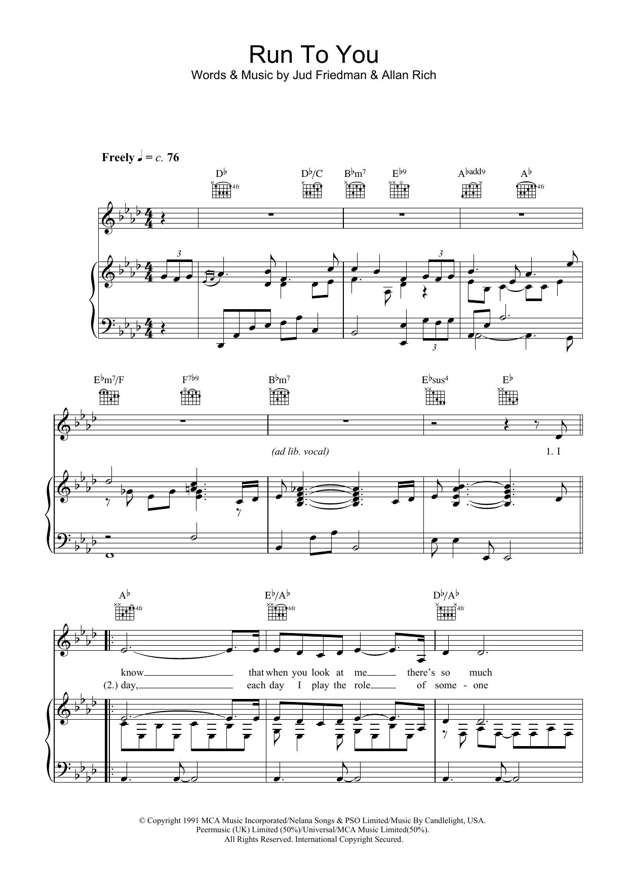 Run To You (Piano, Vocal & Guitar)