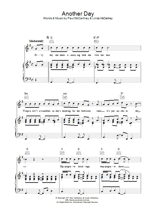 Another Day by Paul McCartney Piano, Vocal & Guitar (Right-Hand Melody)  Digital Sheet Music