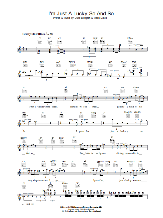 I\'m Just A Lucky So And So   Diana Krall   Melody Line, Lyrics & Chords