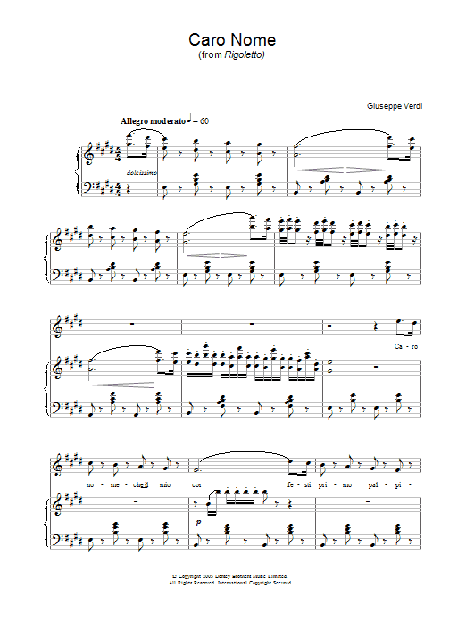 Caro Nome (from Rigoletto) Sheet Music