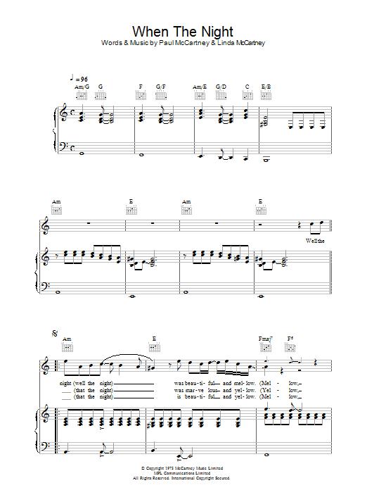 When The Night (Piano, Vocal & Guitar)