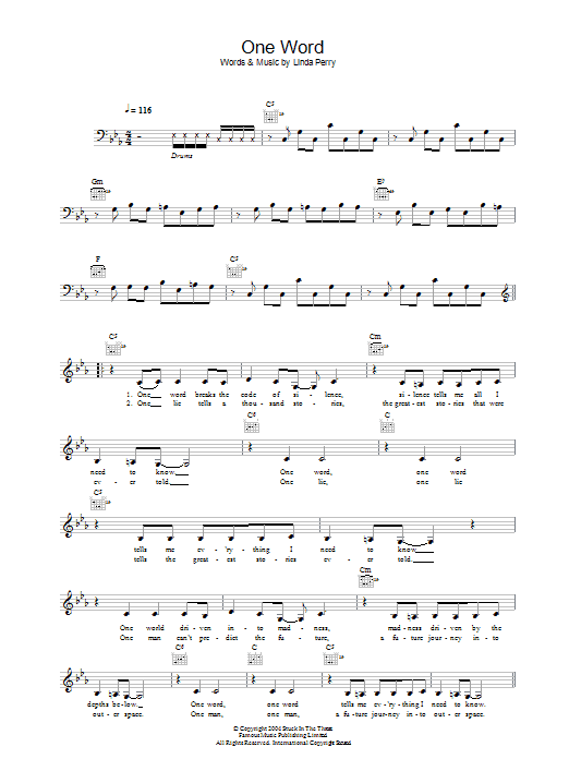 One Word Sheet Music