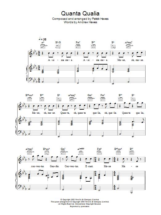 Quanta Qualia (Piano, Vocal & Guitar)