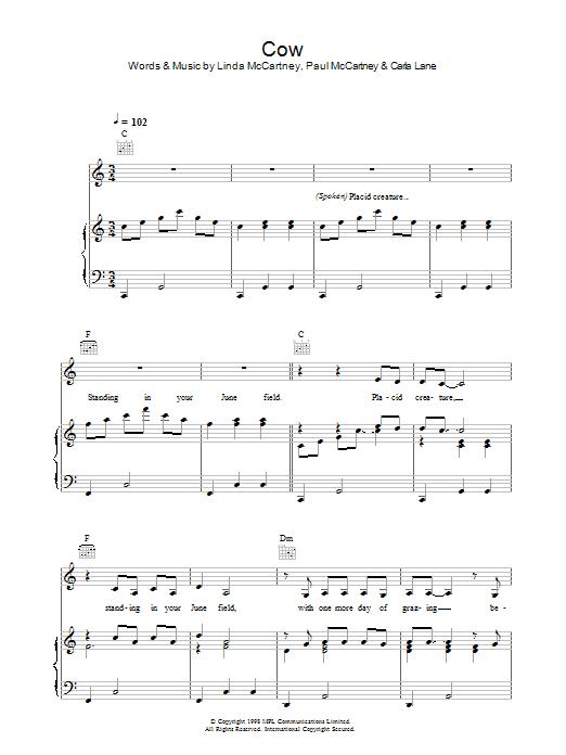 Cow (Piano, Vocal & Guitar)