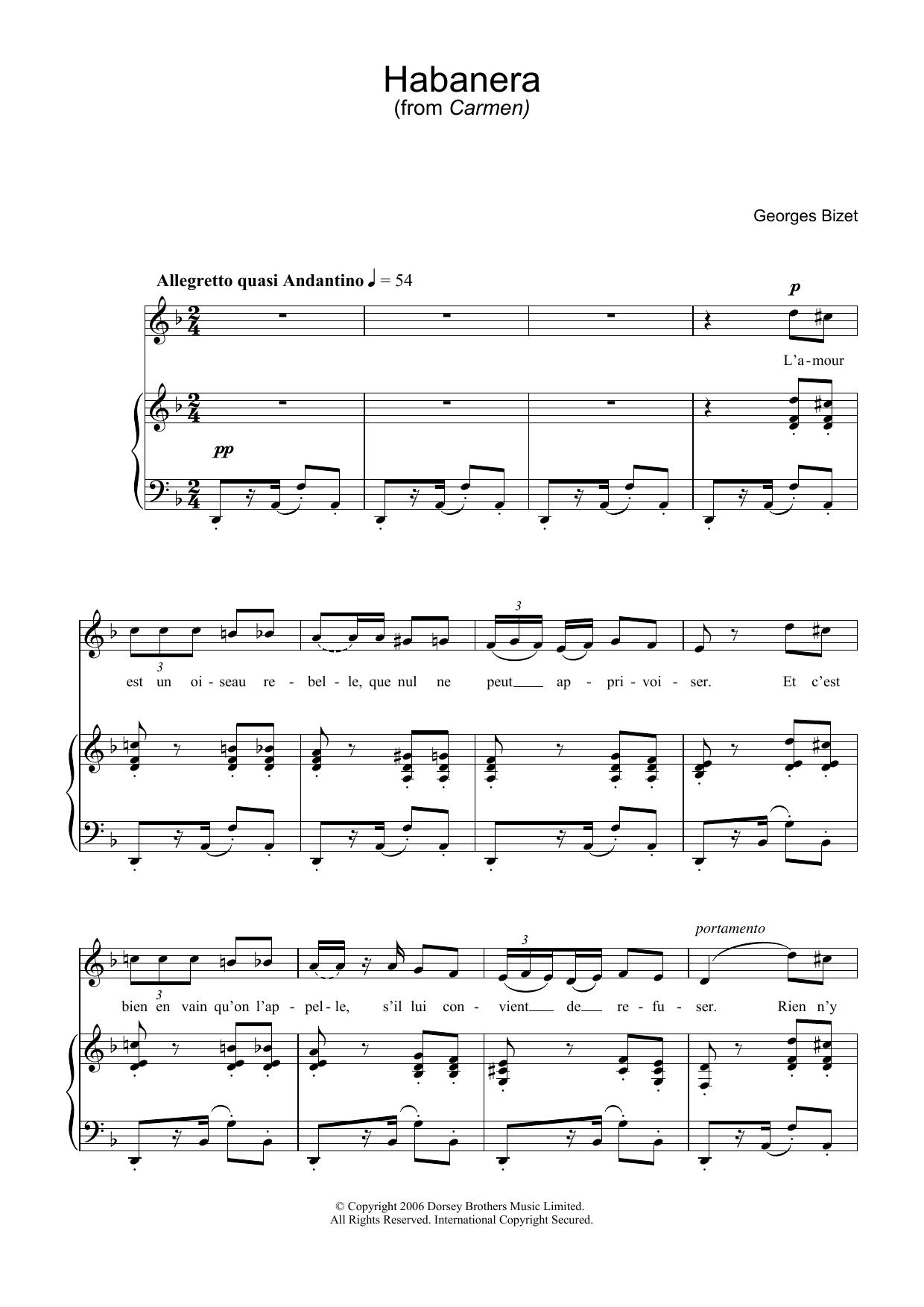 Habanera (from Carmen) (Piano & Vocal)