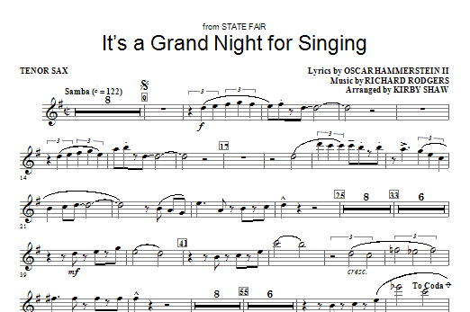 It's a Grand Night for Singing - Tenor Sax Sheet Music