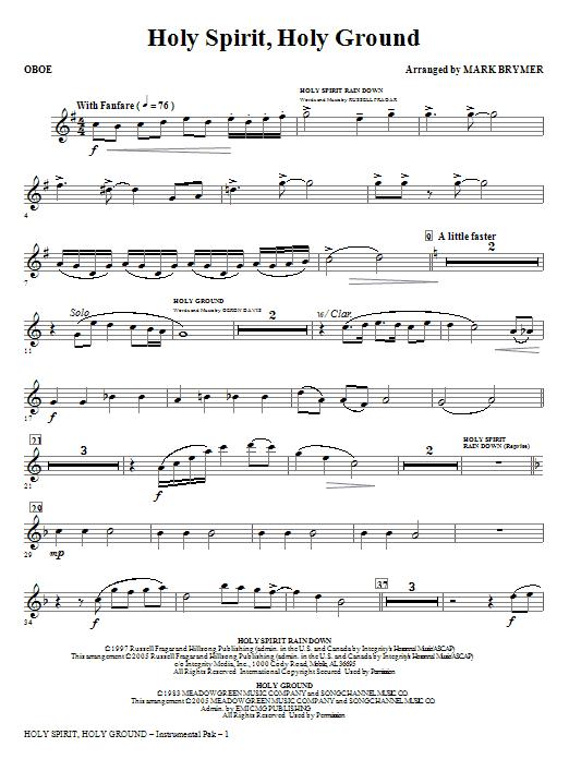 Holy Spirit, Holy Ground (Medley) - Oboe Sheet Music