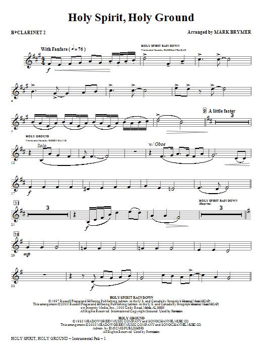 Holy Spirit, Holy Ground (Medley) - Bb Clarinet 2 Sheet Music