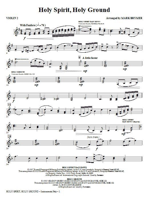 Holy Spirit, Holy Ground (Medley) - Violin 2 Sheet Music