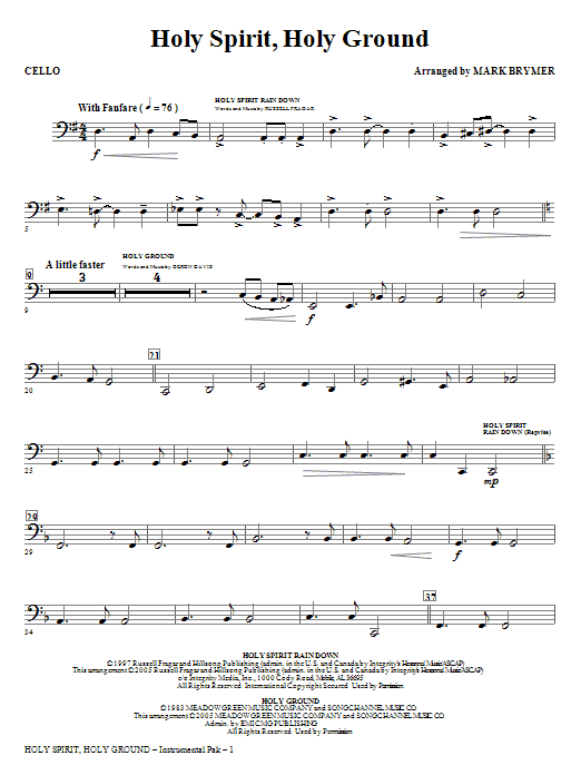 Holy Spirit, Holy Ground (Medley) - Cello Sheet Music