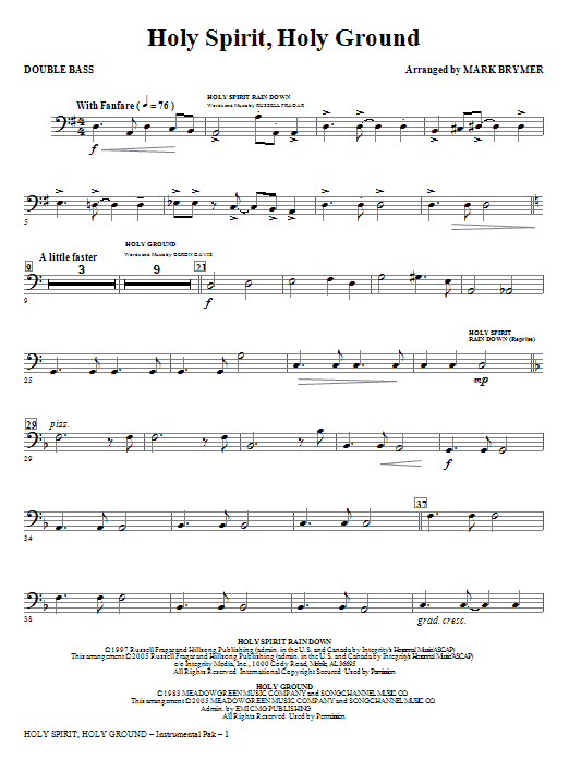 Holy Spirit, Holy Ground (Medley) - Double Bass (Choir Instrumental Pak)
