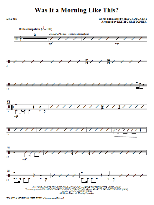 Was It A Morning Like This? - Drums Sheet Music