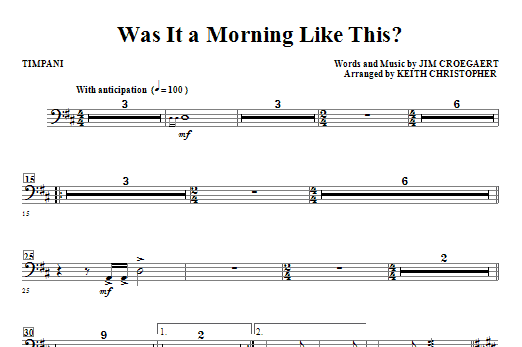 Was It A Morning Like This? - Timpani Sheet Music