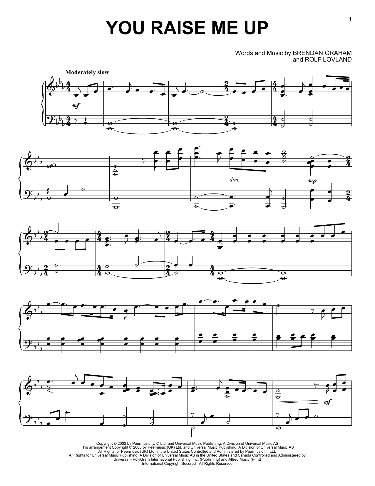 Partition piano You Raise Me Up de Josh Groban - Piano Solo