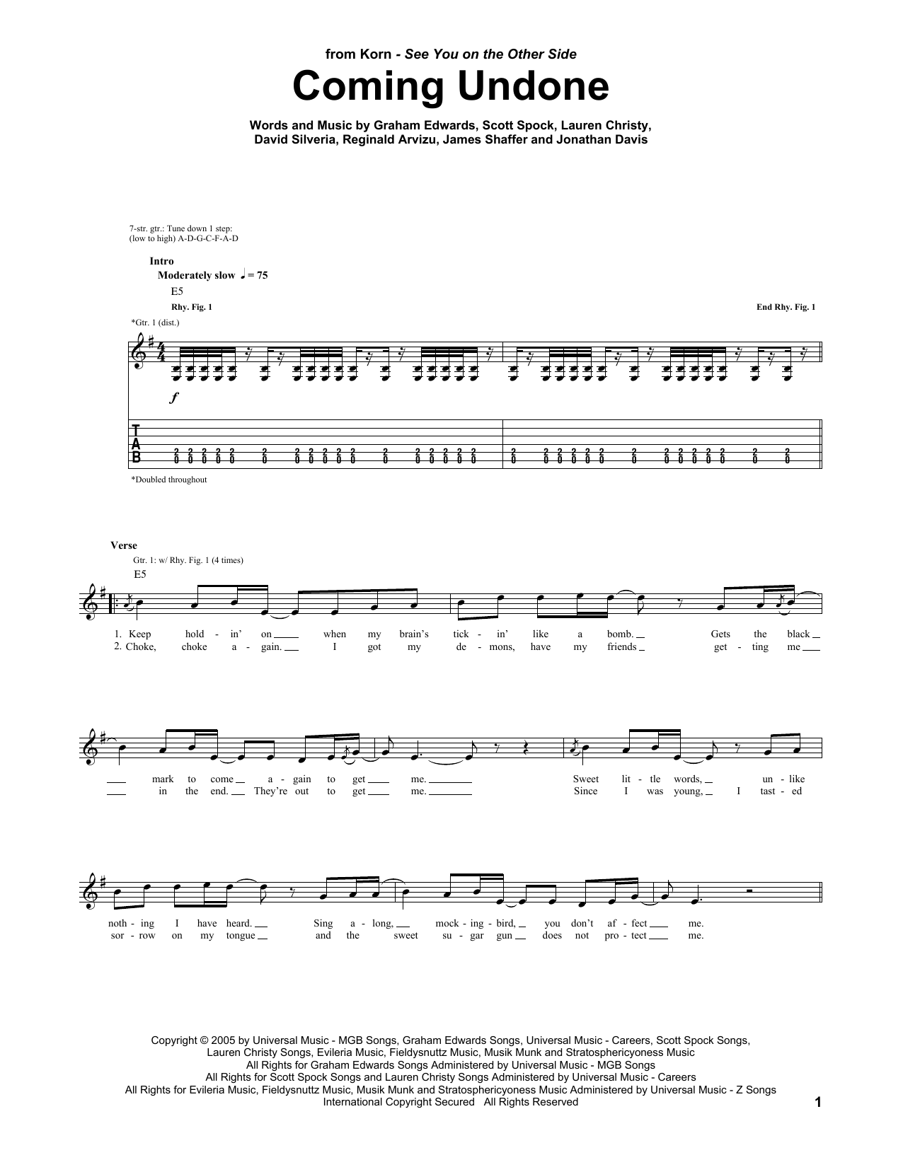 Tablature guitare Coming Undone de Korn - Tablature Guitare