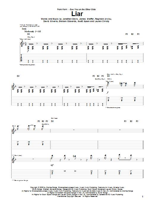 Tablature guitare Liar de Korn - Tablature Guitare