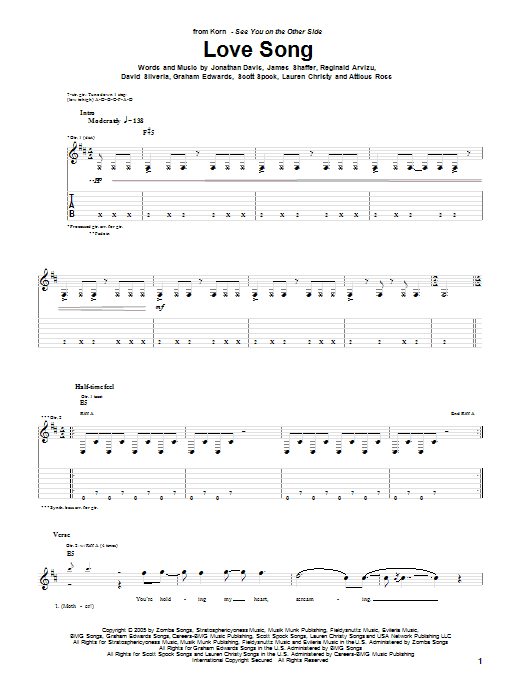 Tablature guitare Love Song de Korn - Tablature Guitare