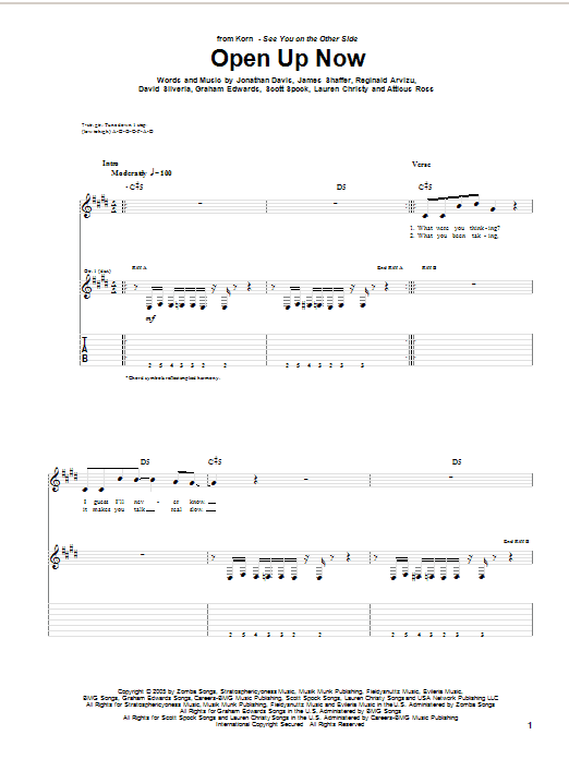 Tablature guitare Open Up Now de Korn - Tablature Guitare