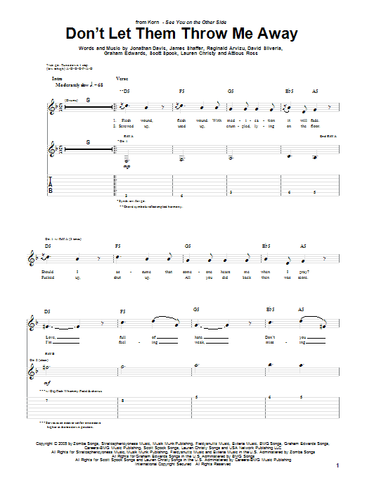 Tablature guitare Don't Let Them Throw Me Away de Korn - Tablature Guitare