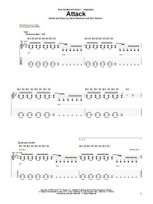 Tablature guitare Attack de System Of A Down - Tablature Guitare