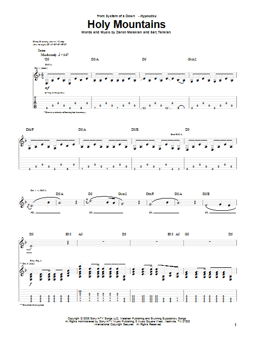 Tablature guitare Holy Mountains de System Of A Down - Tablature Guitare