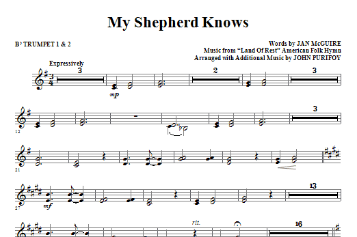 My Shepherd Knows (complete set of parts) sheet music for orchestra/band (Brass) by Jan McGuire, John Purifoy and Miscellaneous. Score Image Preview.