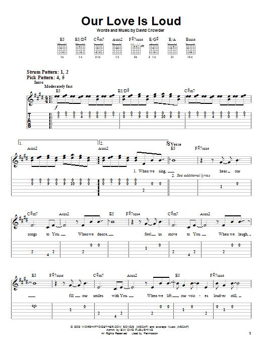 Our Love Is Loud (Easy Guitar Tab)