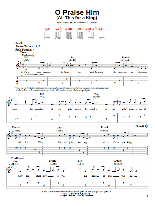 O Praise Him (All This For A King) (Easy Guitar Tab)