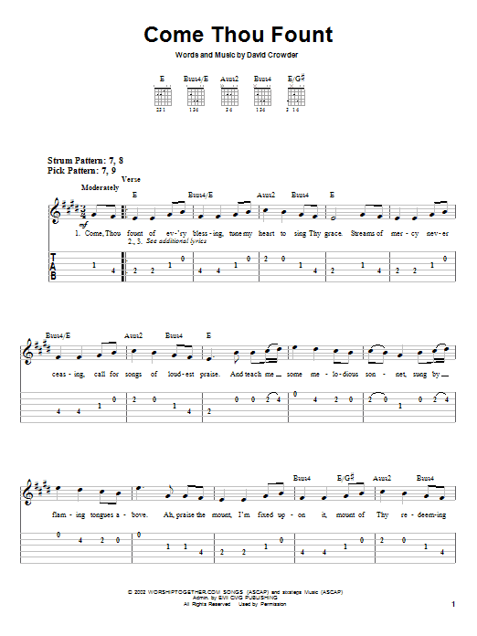 Come Thou Fount (Easy Guitar Tab)