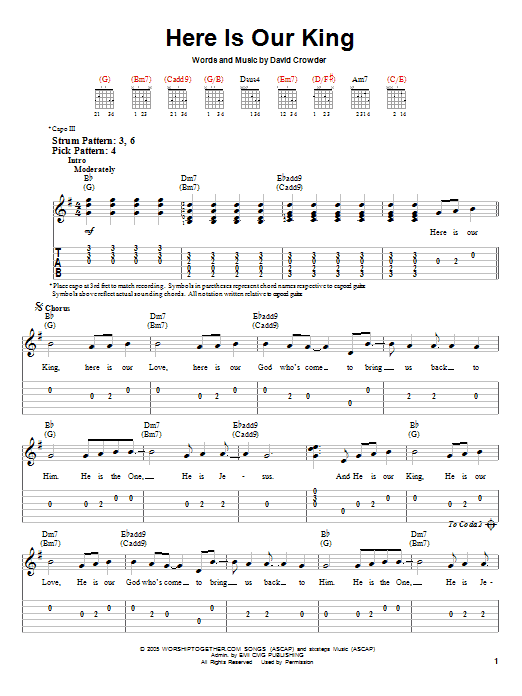 Here Is Our King By David Crowder Band Easy Guitar Tab Guitar