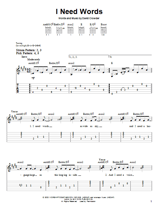 I Need Words (Easy Guitar Tab)