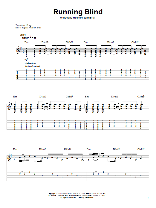 Running Blind (Guitar Tab (Single Guitar))