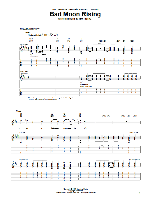 Bad Moon Rising Guitar Tab by Creedence Clearwater Revival (Guitar ...