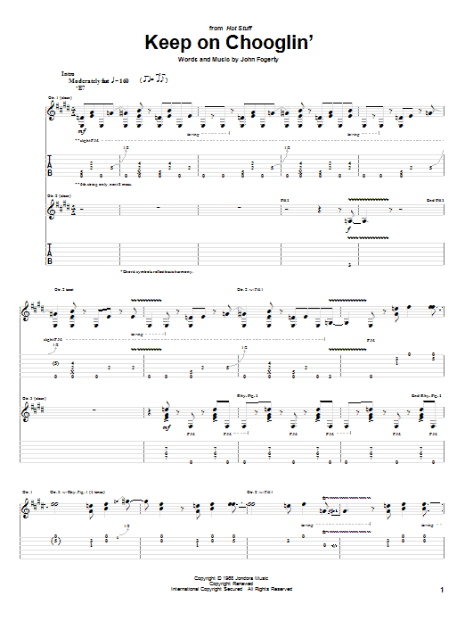 Tablature guitare Keep On Chooglin' de Creedence Clearwater Revival - Tablature Guitare
