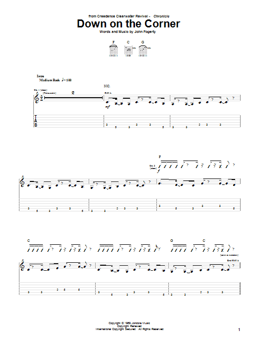 Tablature guitare Down On The Corner de Creedence Clearwater Revival - Tablature Guitare