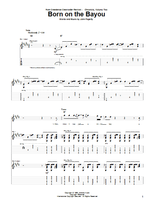 Tablature guitare Born On The Bayou de Creedence Clearwater Revival - Tablature Guitare