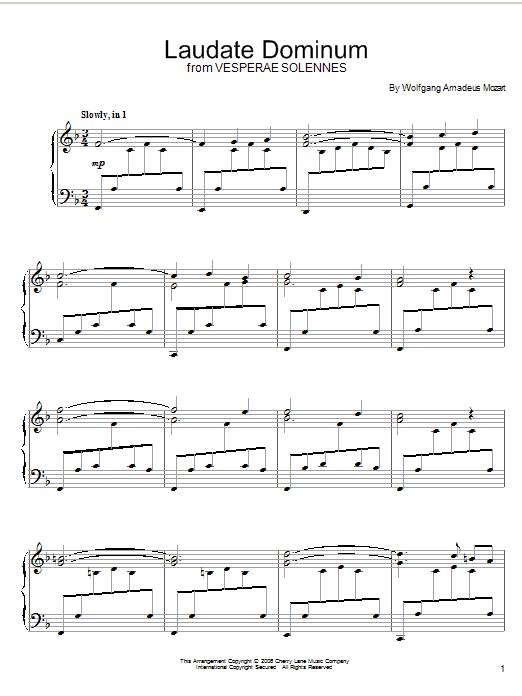 Partition piano Laudate Dominum de Wolfgang Amadeus Mozart - Piano Solo