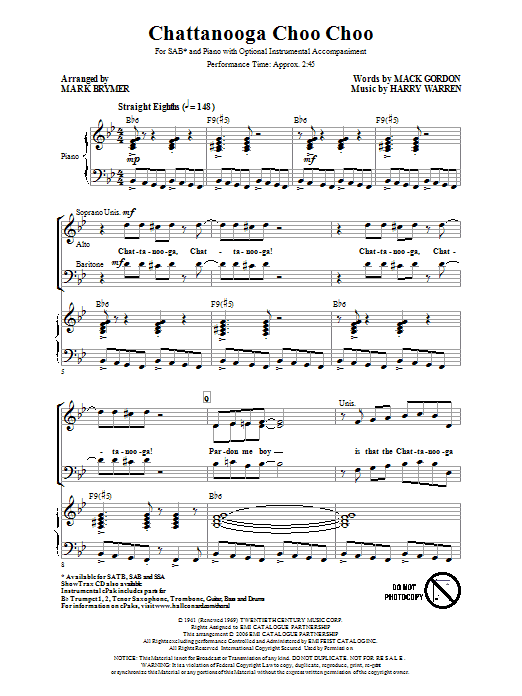 Partition chorale Chattanooga Choo Choo de Mark Brymer - SAB