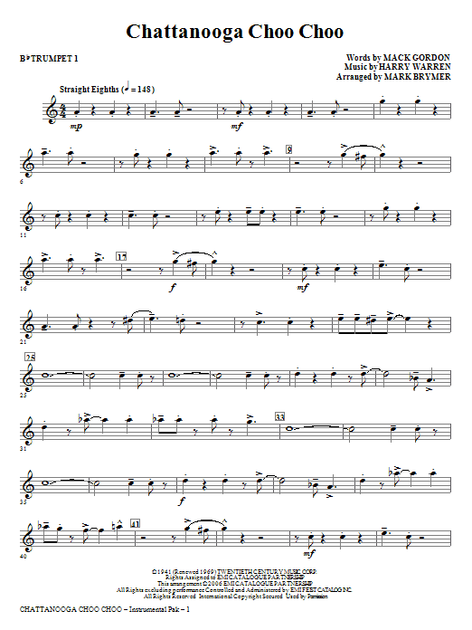 Chattanooga Choo Choo (complete set of parts) sheet music for orchestra/band (chamber ensemble) by Mark Brymer, Harry Warren and Mack Gordon. Score Image Preview.