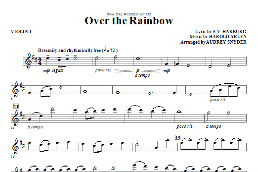 Over The Rainbow Violin 1 Sheet Music By Audrey Snyder Choral