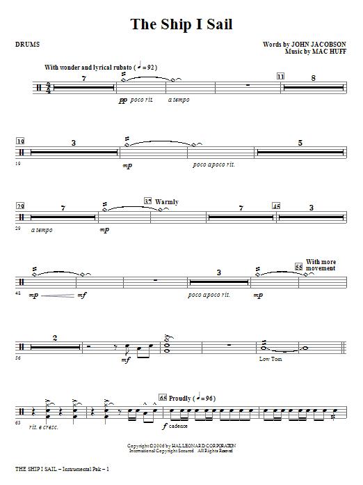 The Ship I Sail - Drums Sheet Music